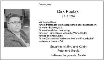 Traueranzeige von Dirk Foetzki von Rheinische Post