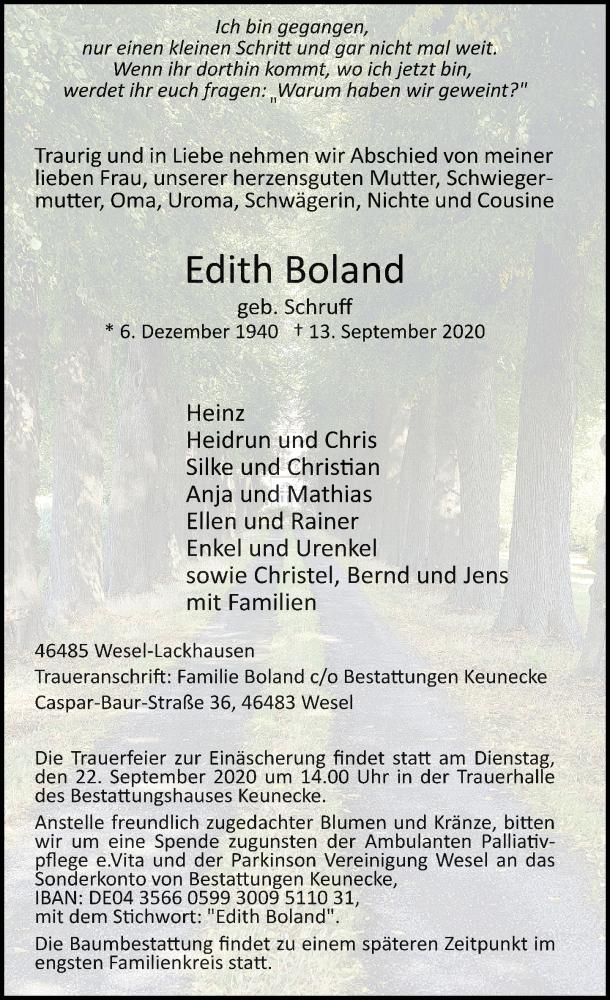 Traueranzeige für Edith Boland vom 19.09.2020 aus Rheinische Post