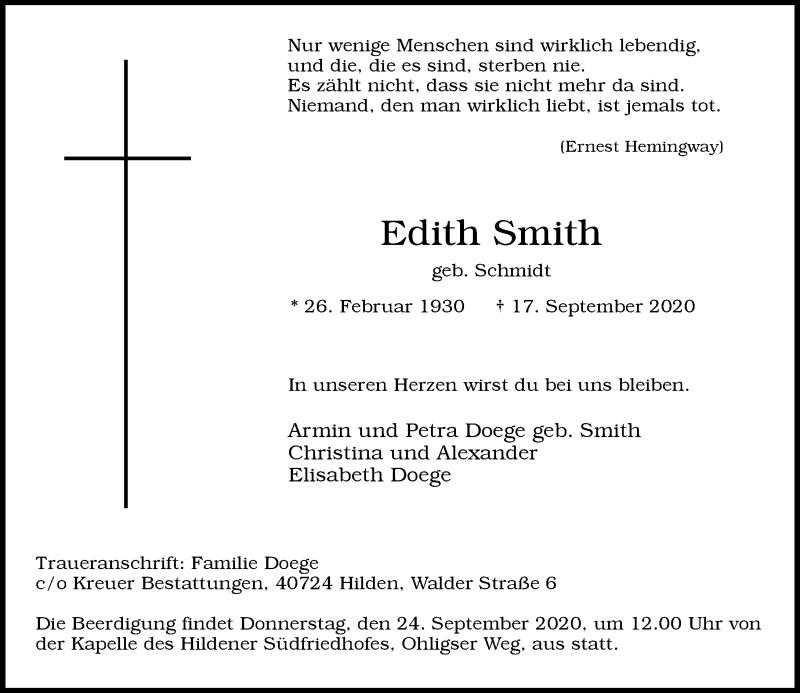 Traueranzeige für Edith Smith vom 23.09.2020 aus Rheinische Post