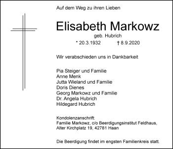 Traueranzeige von Elisabeth Markowz von Rheinische Post