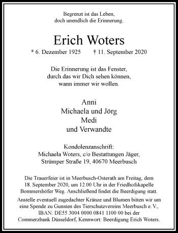 Traueranzeige von Erich Woters von Rheinische Post