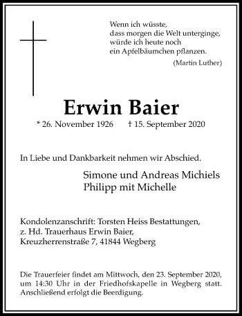 Traueranzeige von Erwin Baier von Rheinische Post