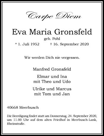Traueranzeige von Eva Maria Gronsfeld von Rheinische Post