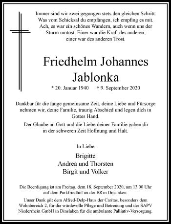 Traueranzeige von Friedhelm Johannes Jablonka von Rheinische Post