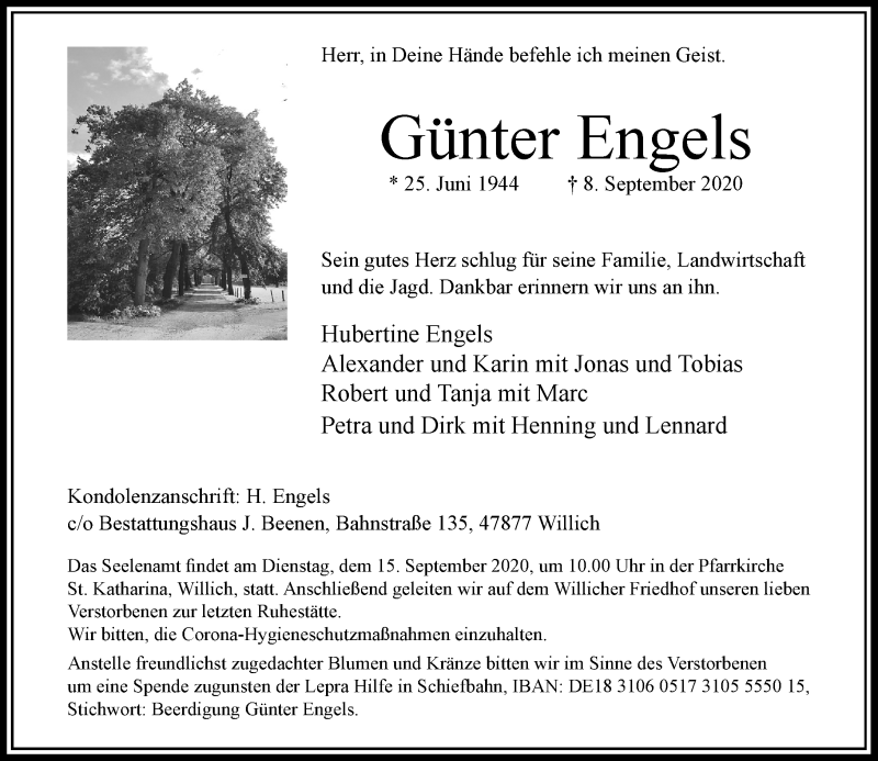 Traueranzeige für Günter Engels vom 12.09.2020 aus Rheinische Post