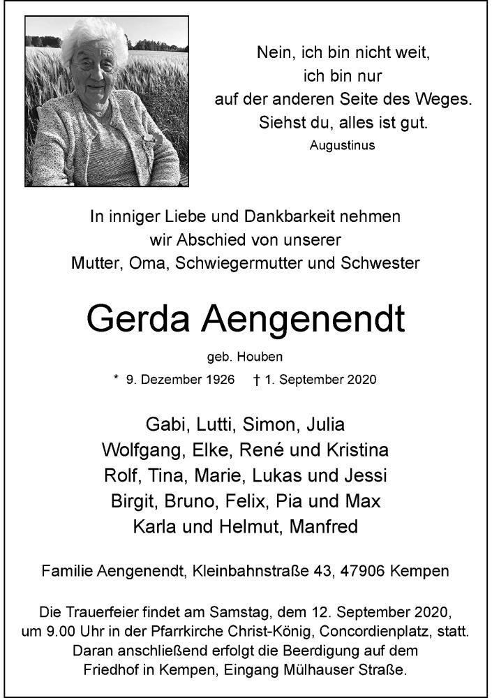 Traueranzeige für Gerda Aengenendt vom 09.09.2020 aus Rheinische Post