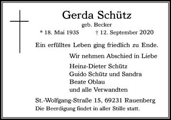 Traueranzeige von Gerda Schütz von Rheinische Post