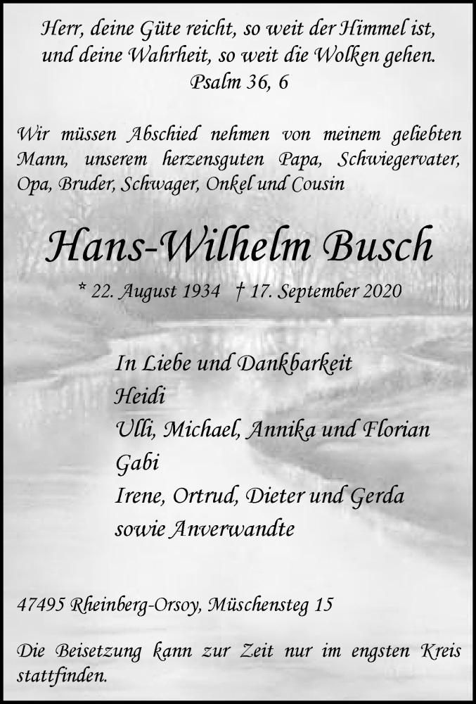 Traueranzeige für HAns-Wilhelm Busch vom 22.09.2020 aus Rheinische Post