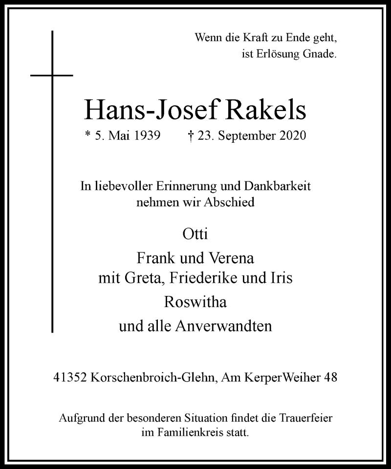 Traueranzeige für Hans-Josef Rakels vom 26.09.2020 aus Rheinische Post