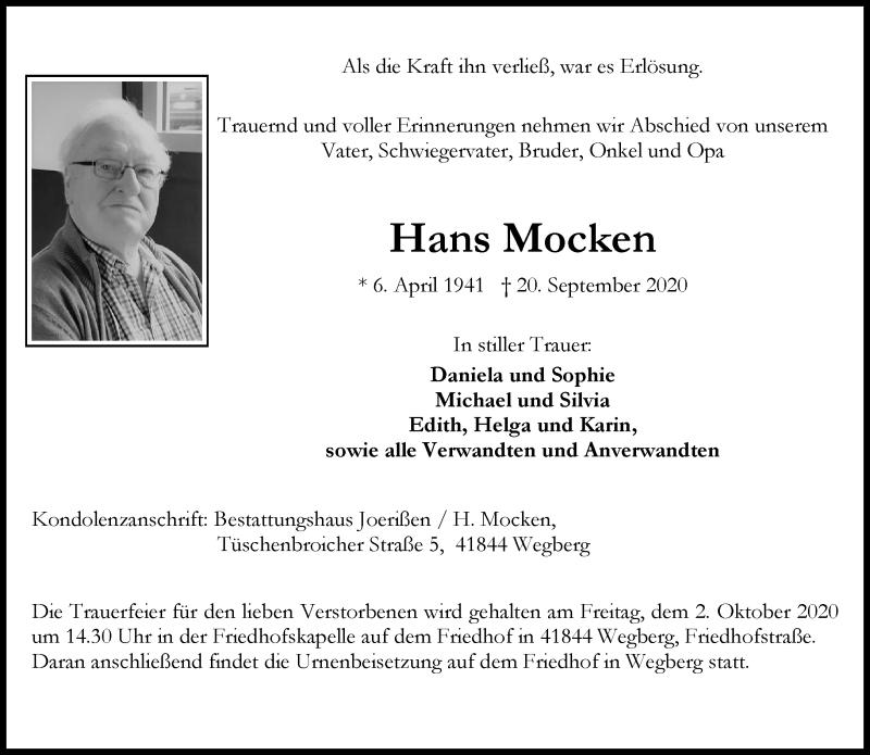 Traueranzeige für Hans Mocken vom 26.09.2020 aus Rheinische Post