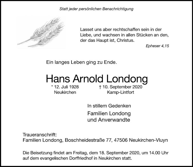 Traueranzeige für Hans Arnold Londong vom 16.09.2020 aus Rheinische Post