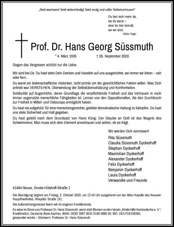 Traueranzeige von Hans Georg Süssmuth von Rheinische Post