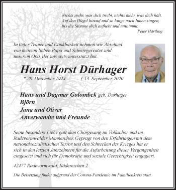 Traueranzeige von Hans Horst Dürhager von Rheinische Post