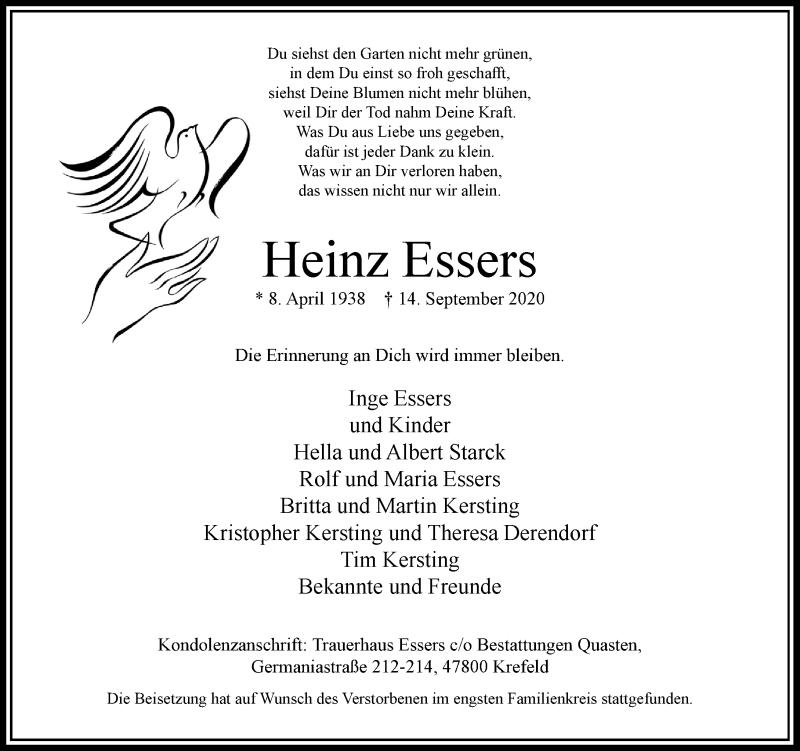 Traueranzeige für Heinz Essers vom 19.09.2020 aus Rheinische Post
