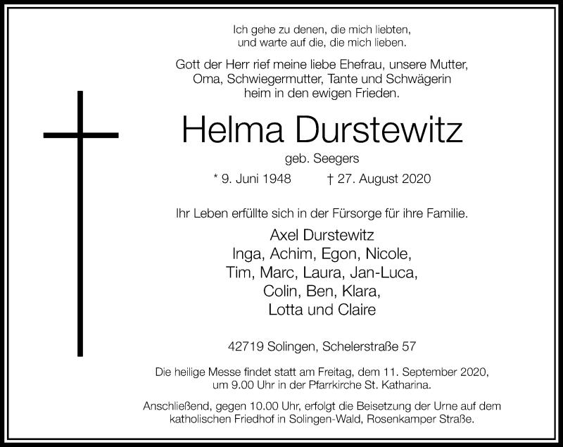 Traueranzeige für Helma Durstewitz vom 05.09.2020 aus Rheinische Post