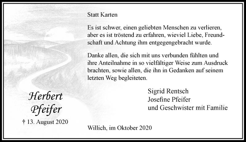 Traueranzeige für Herbert Pfeifer vom 03.10.2020 aus Rheinische Post