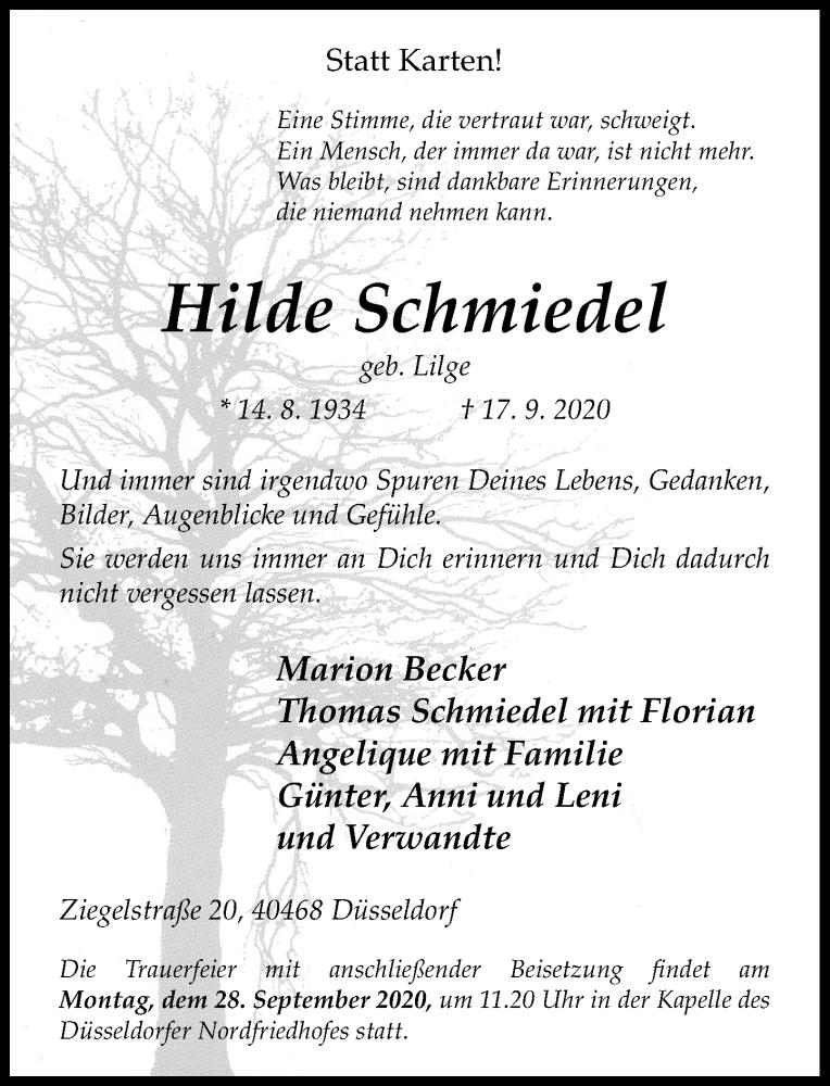 Anzeige von  Hilde Schmiedel