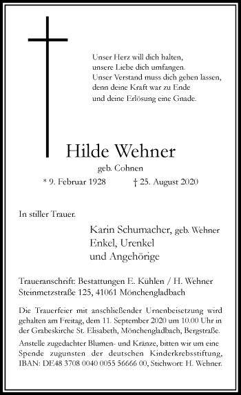 Traueranzeige von Hilde Wehner von Rheinische Post