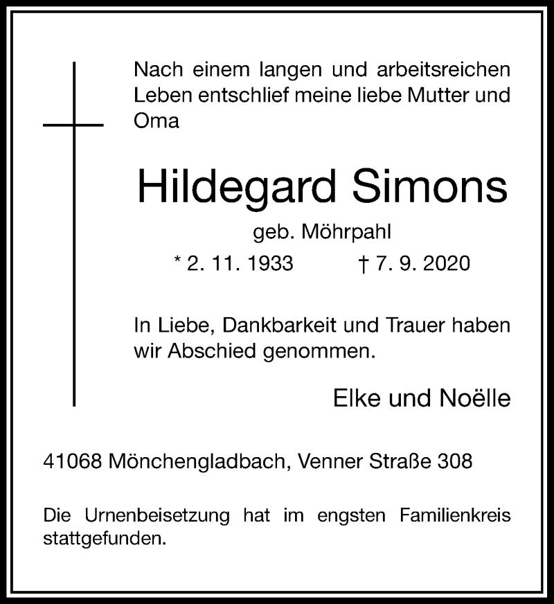 Traueranzeige für Hildegard Simons vom 19.09.2020 aus Rheinische Post