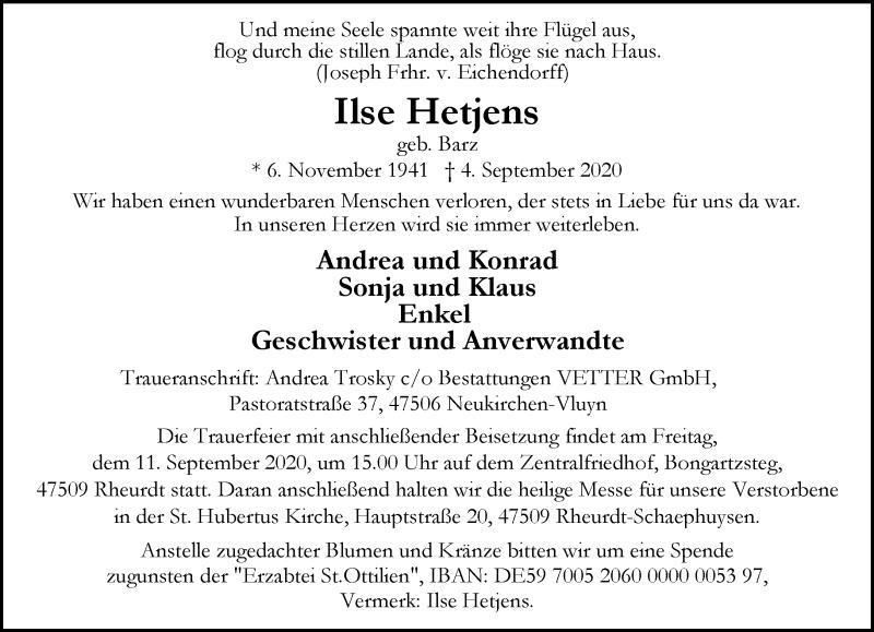 Traueranzeige für Ilse Hetjens vom 09.09.2020 aus Rheinische Post