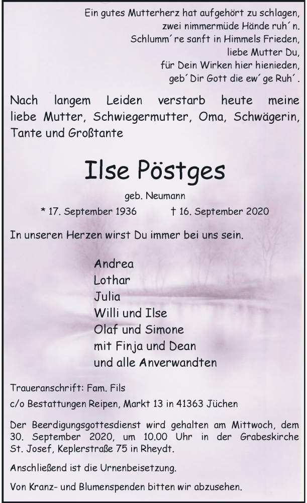 Traueranzeige für Ilse Pöstges vom 26.09.2020 aus Rheinische Post