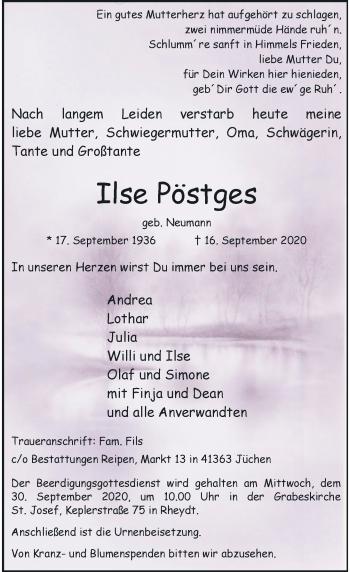 Traueranzeige von Ilse Pöstges von Rheinische Post