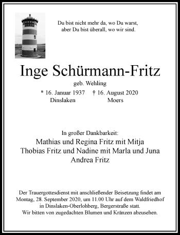 Traueranzeige von Inge Schürmann-Fritz von Rheinische Post
