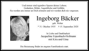 Traueranzeige von Ingeborg Bäcker von Rheinische Post