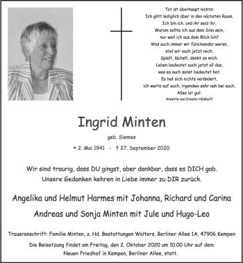 Traueranzeige von Ingrid Minten von Rheinische Post