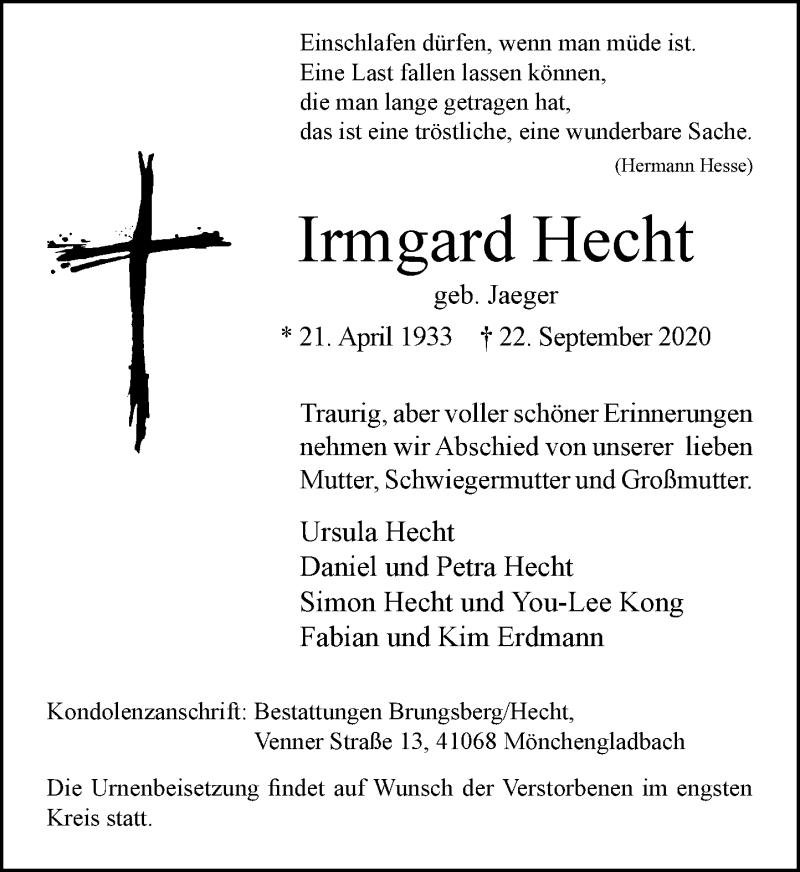 Traueranzeige für Irmgard Hecht vom 26.09.2020 aus Rheinische Post