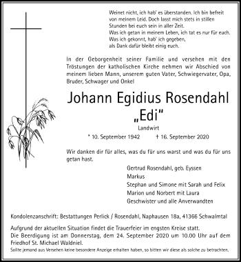 Traueranzeige von Johann Egidius Rosendahl von Rheinische Post