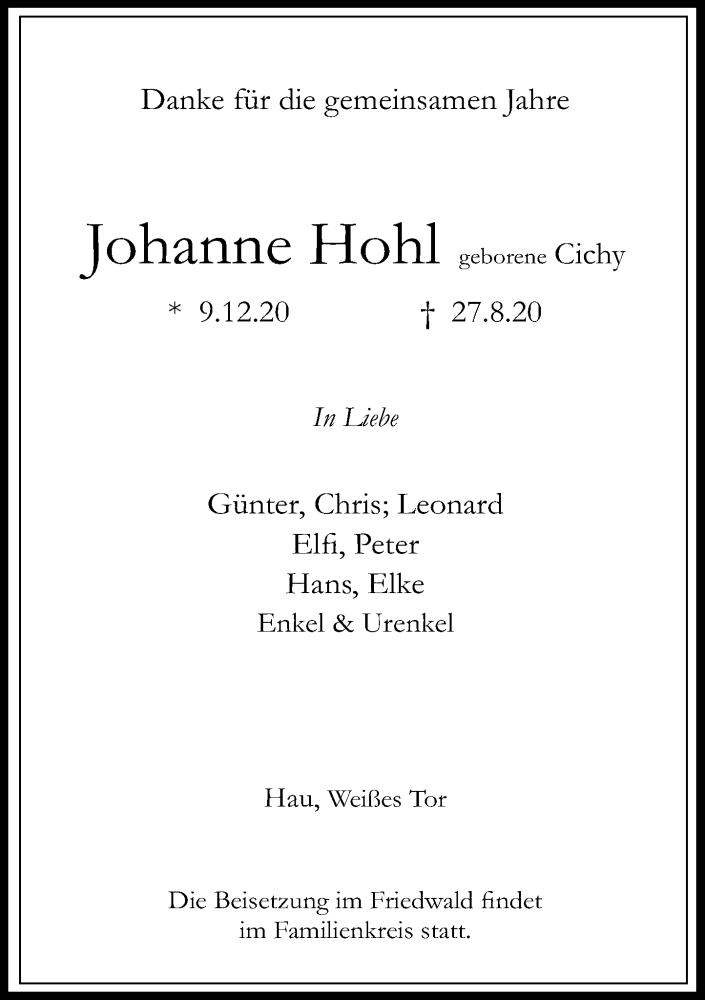 Anzeige von  Johanne Hohl