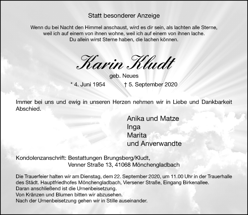 Traueranzeige für Karin Kludt vom 19.09.2020 aus Rheinische Post