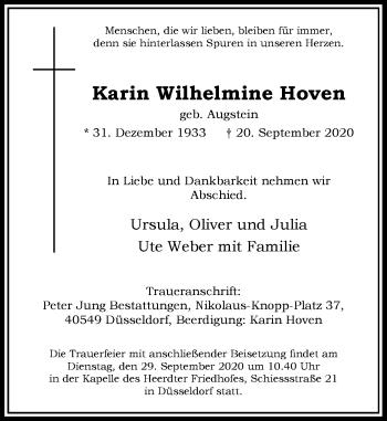Traueranzeige von Karin Wilhelmine Hoven von Rheinische Post