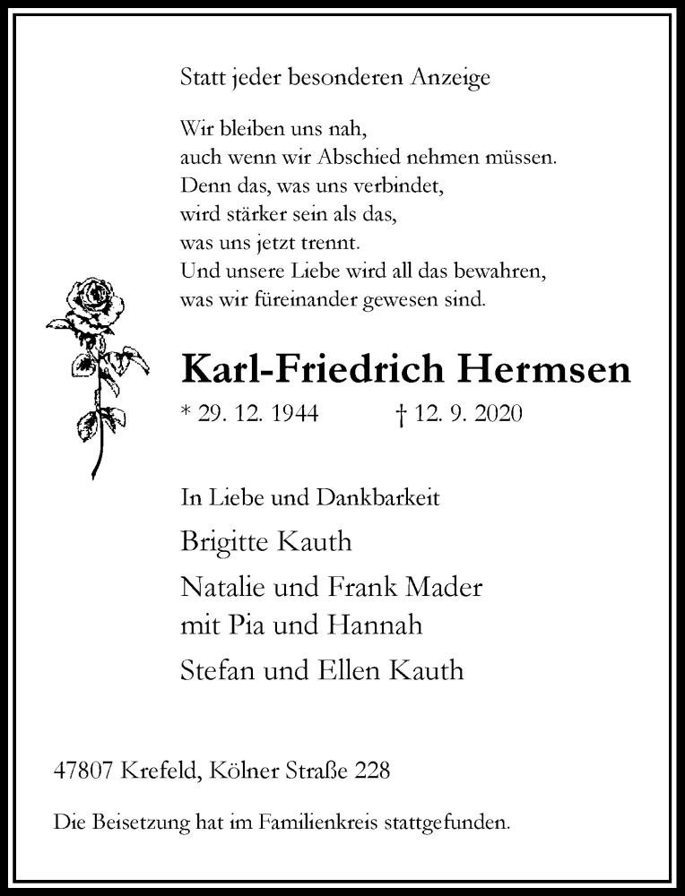 Traueranzeige für Karl-Friedrich Hermsen vom 26.09.2020 aus Rheinische Post