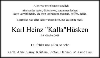 Traueranzeige von Karl Heinz Hüsken von Rheinische Post