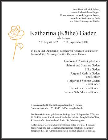 Traueranzeige von Katharina Gaden von Rheinische Post