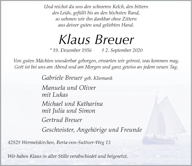 Traueranzeige für Klaus Breuer vom 26.09.2020 aus Rheinische Post