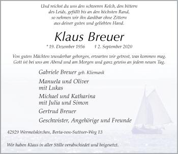 Traueranzeige von Klaus Breuer von Rheinische Post
