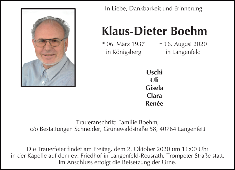 Traueranzeige für Klaus-Dieter Boehm vom 26.09.2020 aus Rheinische Post