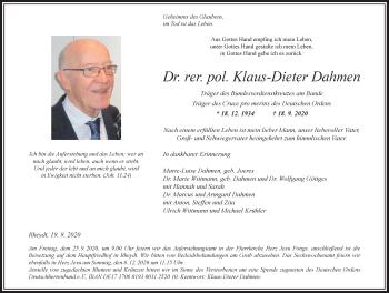 Traueranzeige von Klaus-Dieter Dahmen von Rheinische Post