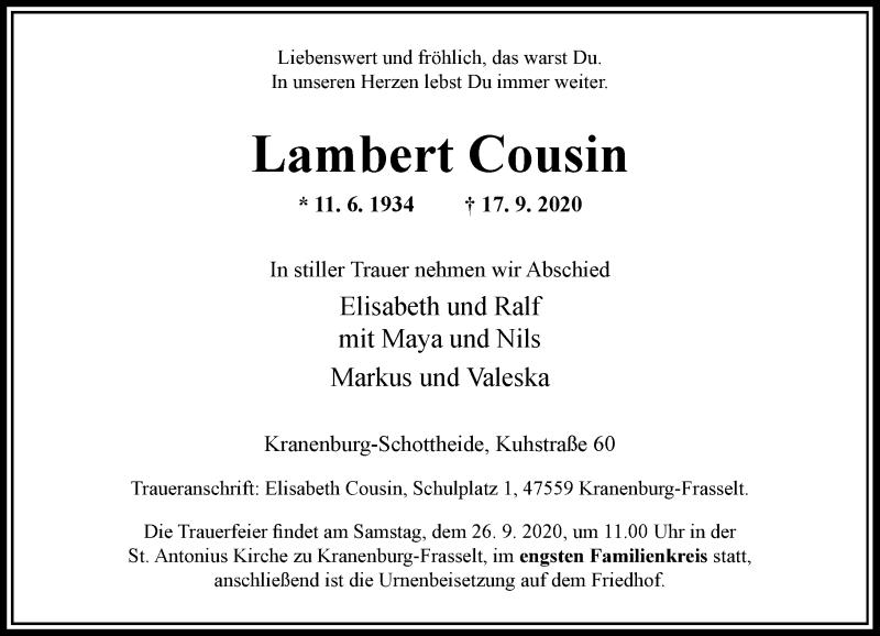Anzeige von  Lambert Cousin