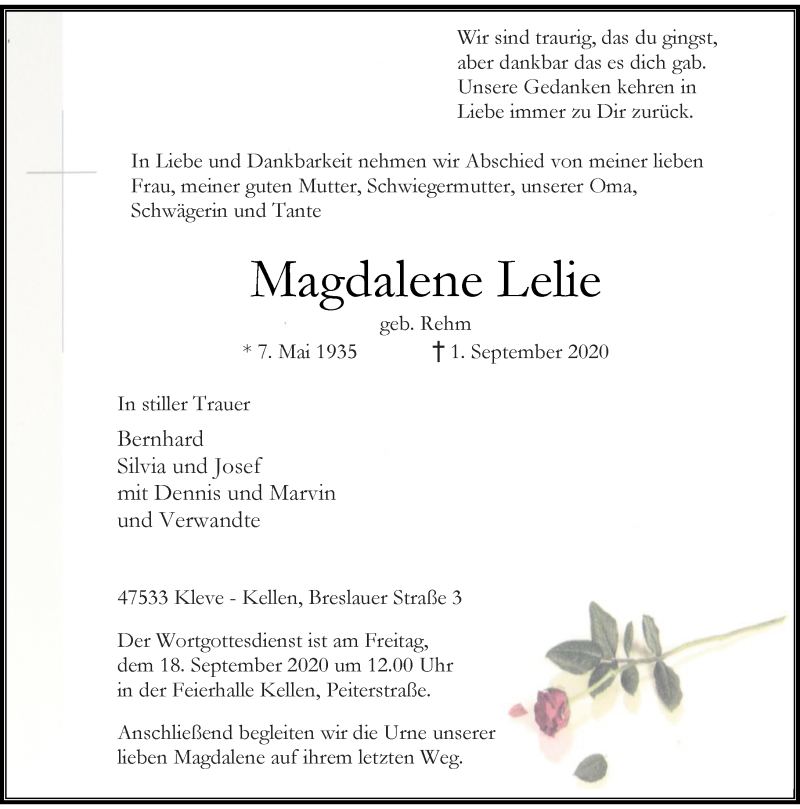 Anzeige von  Magdalene Lelie