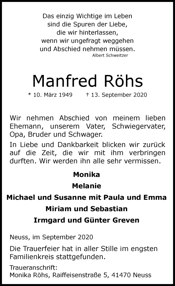 Traueranzeige für Manfred Röhs vom 19.09.2020 aus Rheinische Post