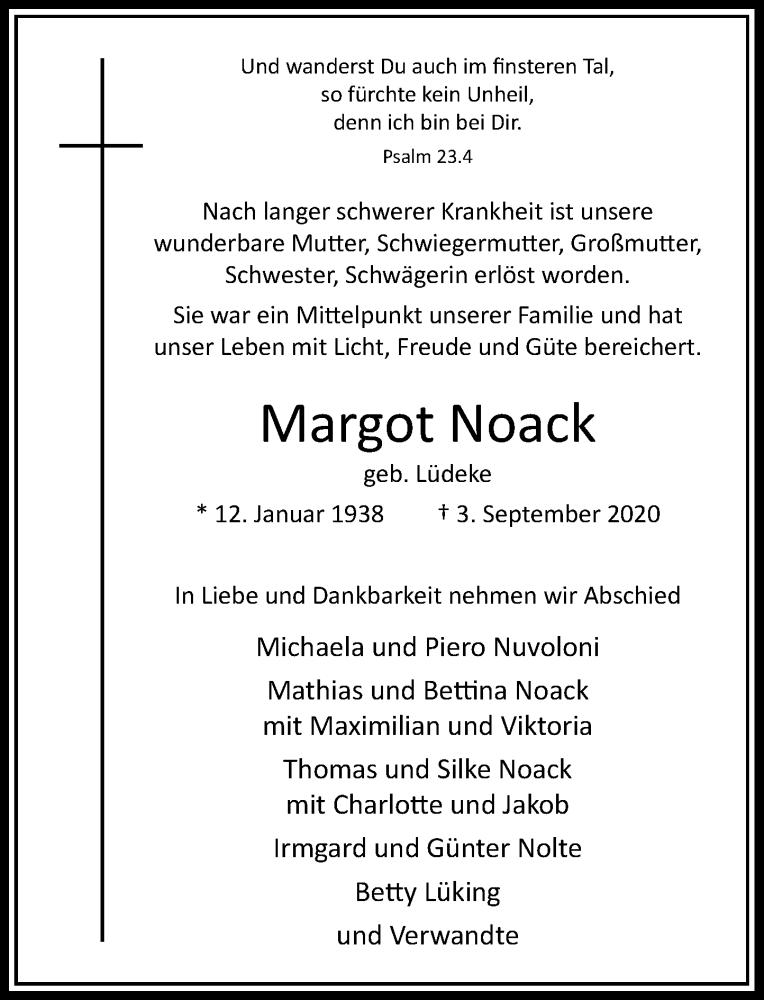 Anzeige von  Margot Noack