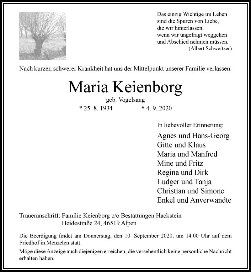 Traueranzeige für Maria Keienborg vom 08.09.2020 aus Rheinische Post