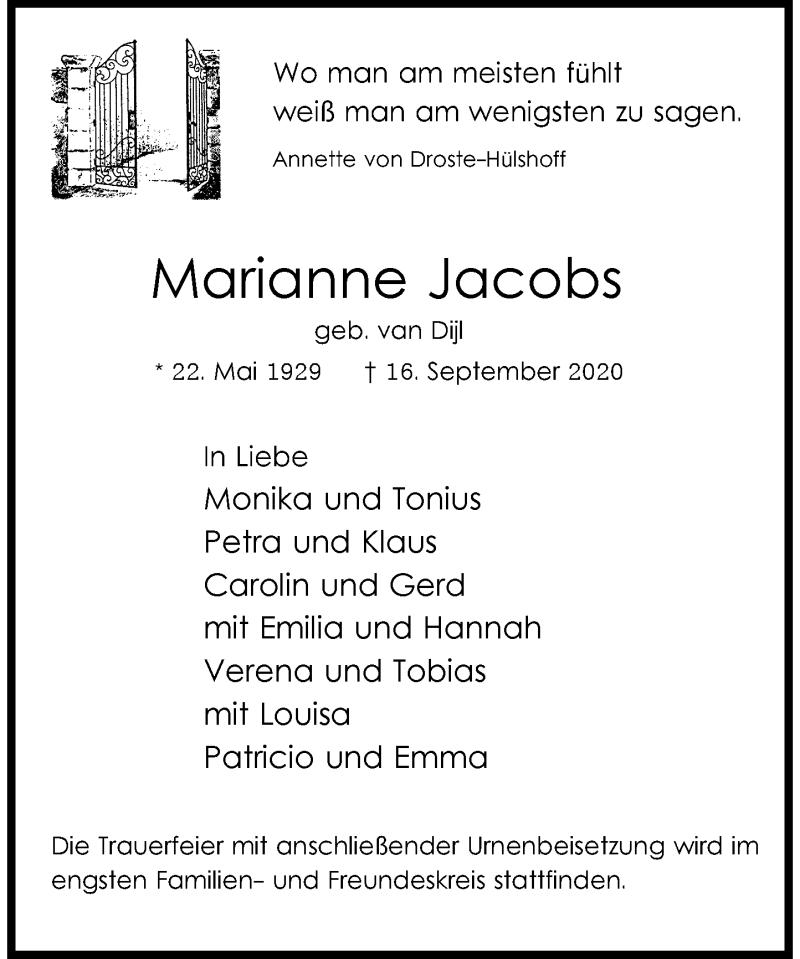 Anzeige von  Marianne Jacobs
