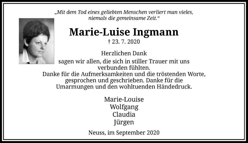 Traueranzeige für Marie-Luise Ingmann vom 05.09.2020 aus Rheinische Post