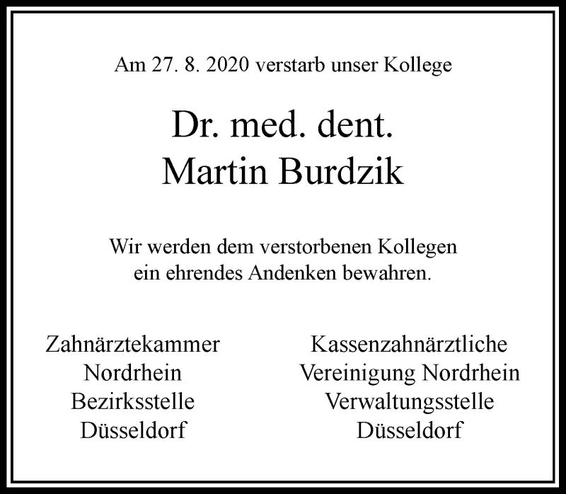 Traueranzeige für Martin Burdzik vom 05.09.2020 aus Rheinische Post