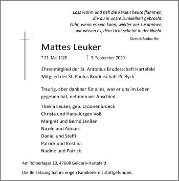 Traueranzeige von Mattes Leuker von Rheinische Post